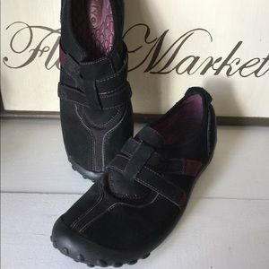 Privo slip on black leather casual shoe, 7 1/2
